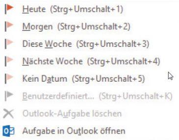 Bild 3: Über die entsprechenden Einträge in OneNote legen Sie schnell eine Aufgabe an, die mit Outlook synchronisiert wird