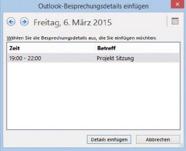 Bild 4: Termine und Besprechungen verknüpfen Sie optional ebenfalls zwischen Outlook und OneNote