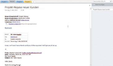 Bild 6: Eine Projektseite in OneNote mit Besprechungsnotiz und Verknüpfung zu einer E-Mail