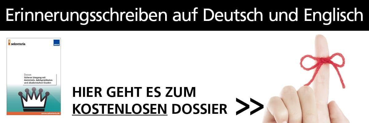 Dossier: Erinnerungsschreiben auf Deutsch und Englisch