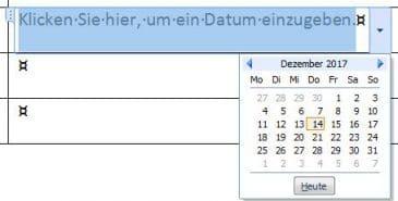 "Steuerelement ""Datum"": Auswahl aus dem Kalender"